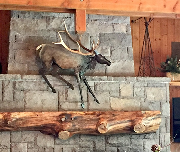 Bronze elk wall sculpture by Danae Bennett-Miller