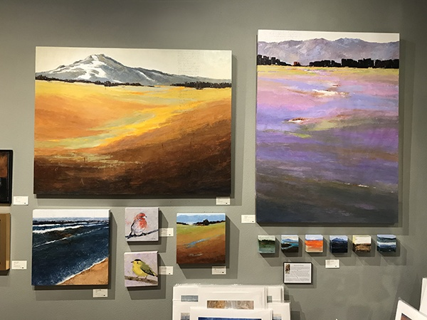 Sarah B Hansen has a variety of work on her wall at Tumalo Art Co.