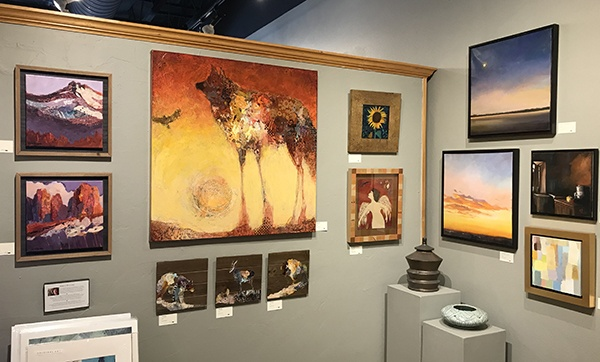 The art on Shelli Walters wall at Tumalo Art Co. can be seen on her webpage
