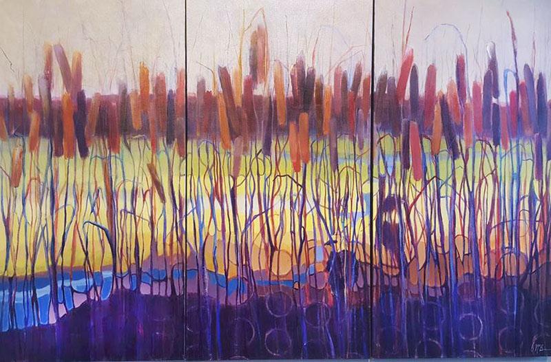 Dee McBrien-Lee Cattails triptych