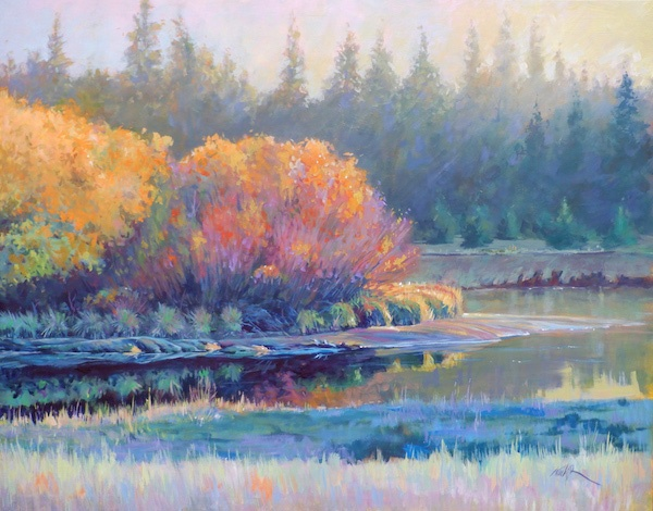 A large painting of the river by David Kinker