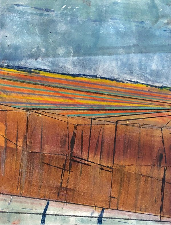 """Canyon Meadow I, mixed media monotype by Adell Shetterly"