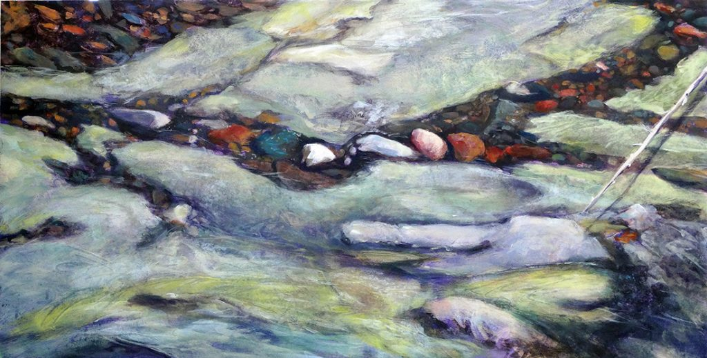 Painting by Susan Luckey Higdon of south santiam river, Oregon