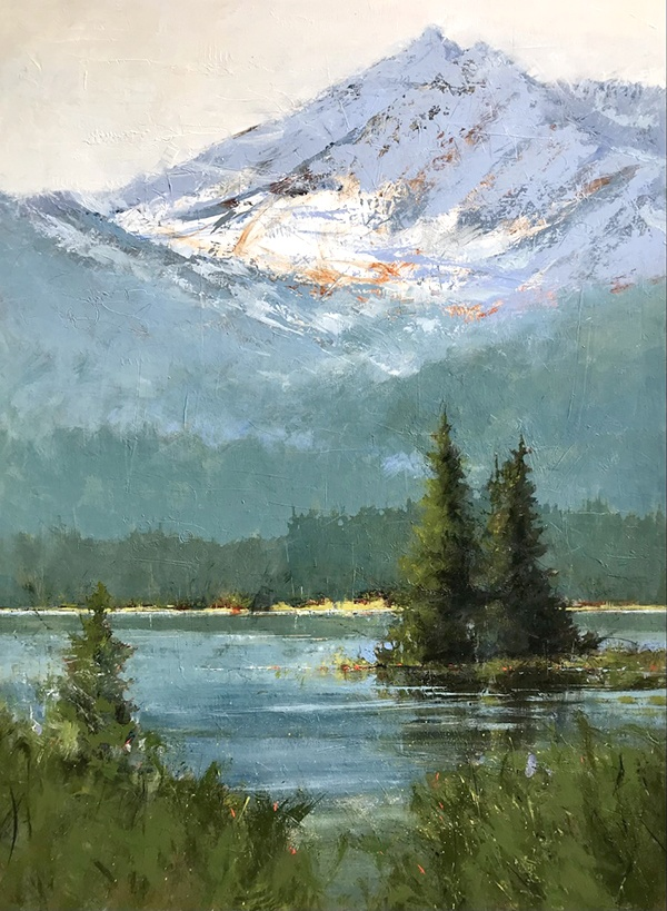 Sarah B Hansen paints Sparks Lake from the Ray Atkeson Trail