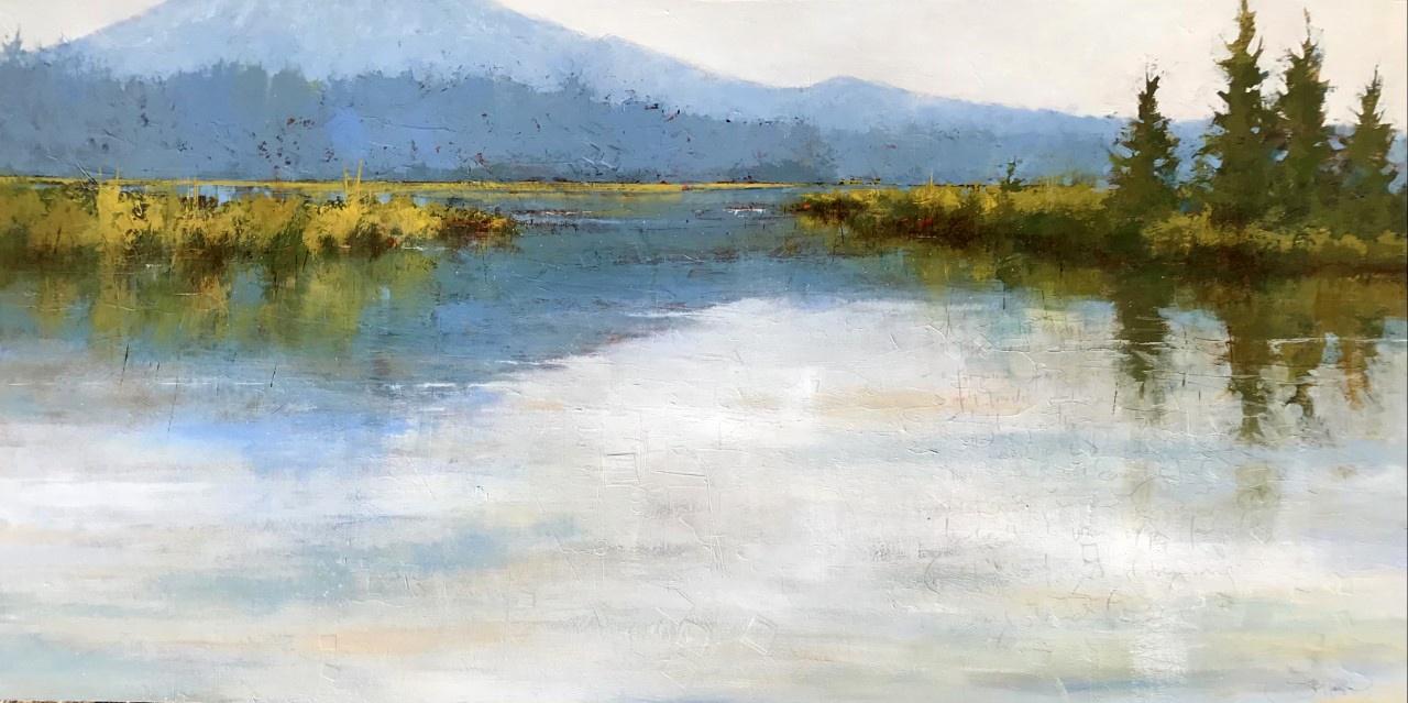 Kayaking on Oregon's Hosmer Lake, painting by Sarah B Hansen