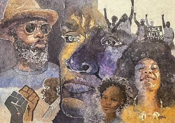 Collage of faces for Black Lives Matter by Helen Brown