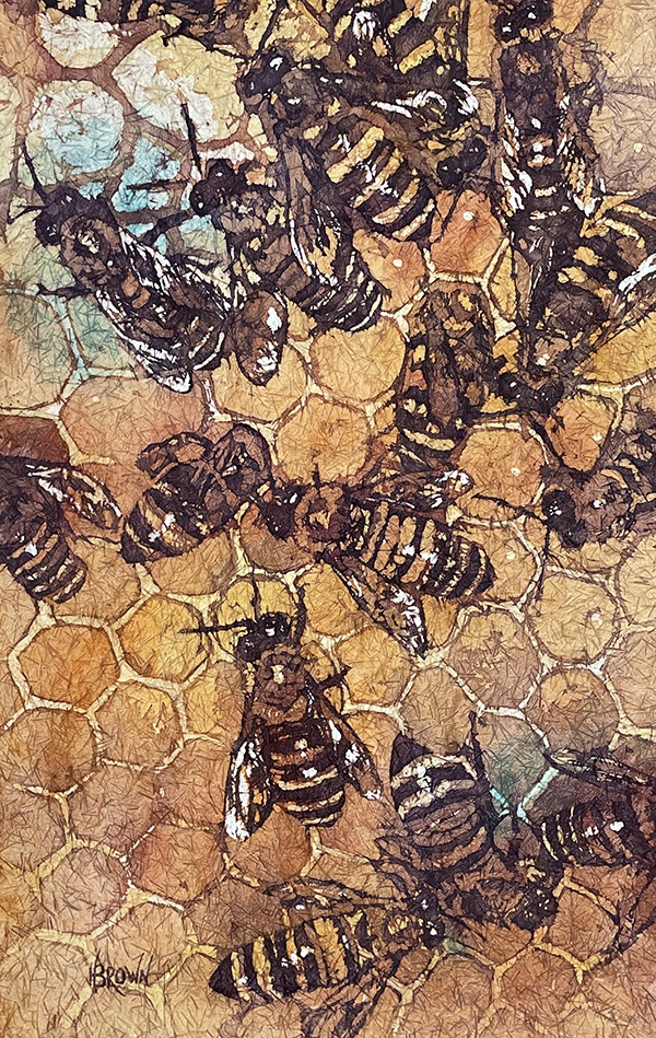 A watercolor of a bee hive by Helen Brown
