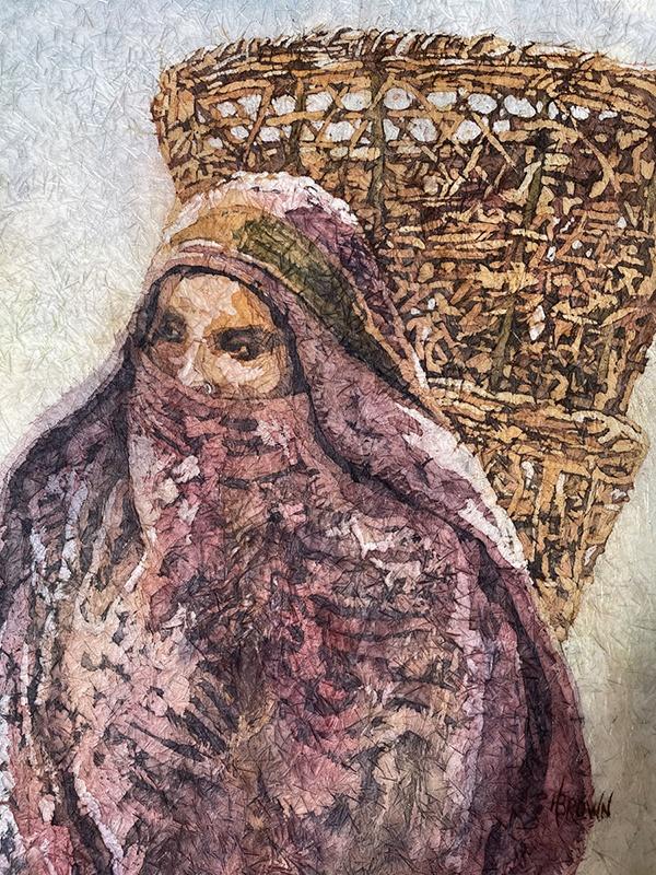 A muslim woman watercolor by Helen Brown