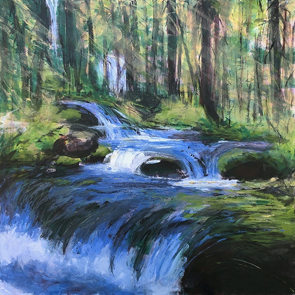 Anne Gibson paints one of the small falls on Tumalo Creek oregon