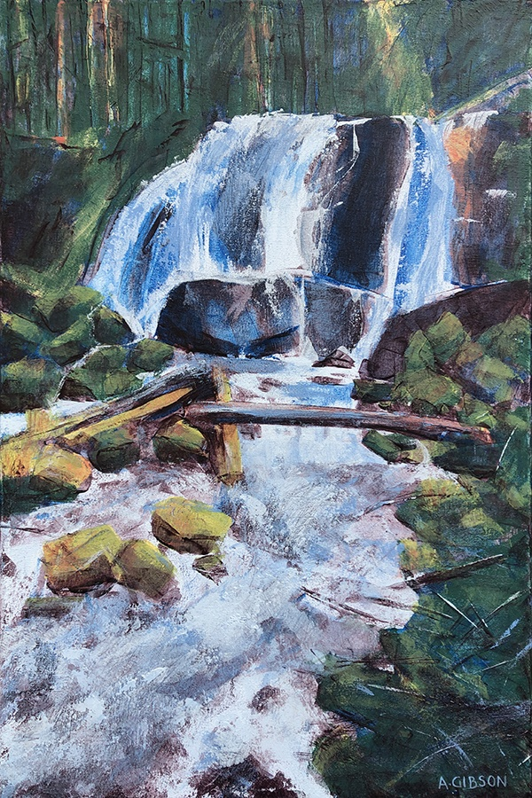 Anne Gibson paints a waterfall on the North Fork of Tumalo Creek
