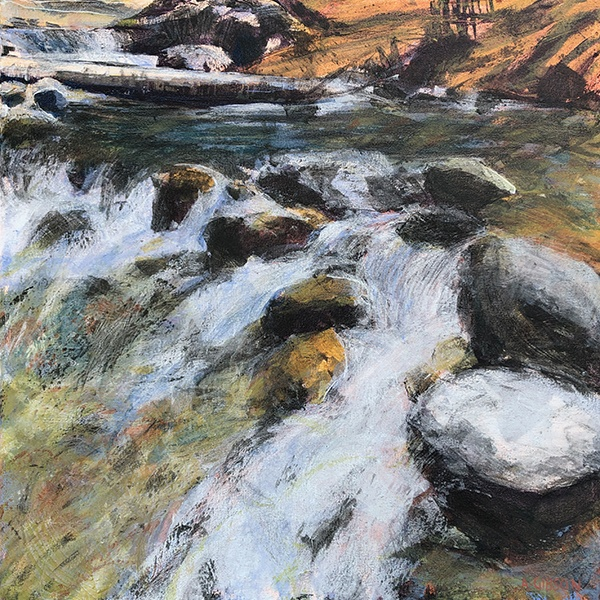 Anne Gibson paints falling water at Paulina Creek in Oregon
