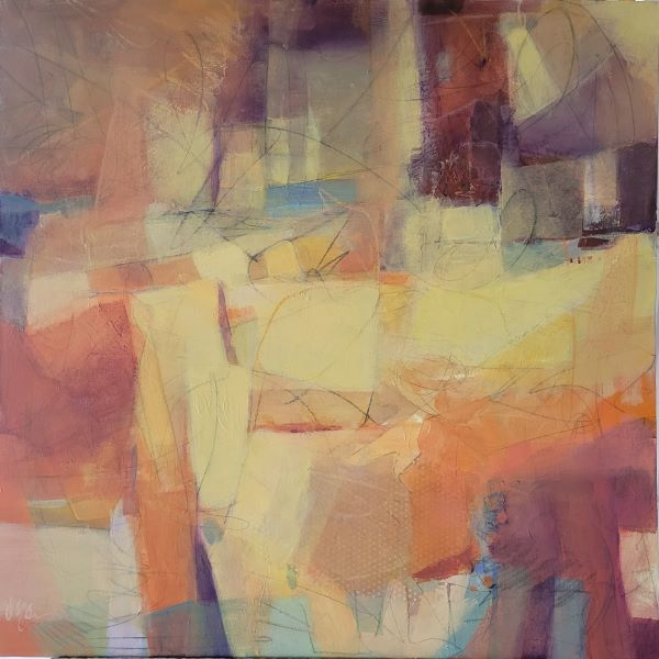 Cathedrals of Stone is an abstract paintingby Dee McBrien-Lee