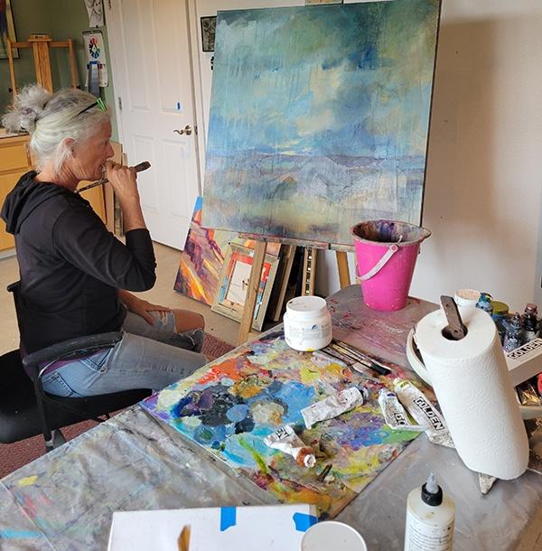 Dee McBrien-Lee working in her studio